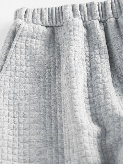 latest ZAFUL High Waisted Quilted Sweatpants - LIGHT GRAY M Mobile