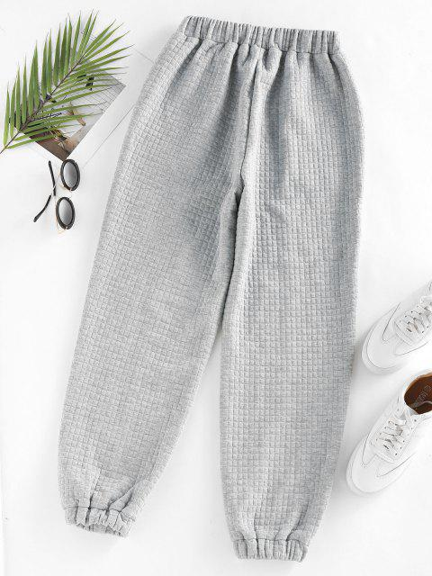 womens ZAFUL High Waisted Quilted Sweatpants - LIGHT GRAY L Mobile