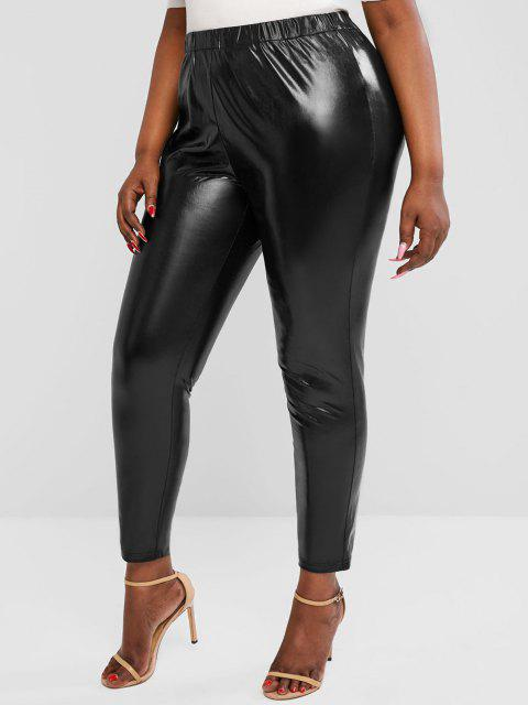 ZAFUL Plus Size Wet Look Coated Leggings - أسود 3XL Mobile