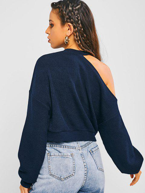 fancy ZAFUL Cold Shoulder Crop Sweater - MIDNIGHT M Mobile