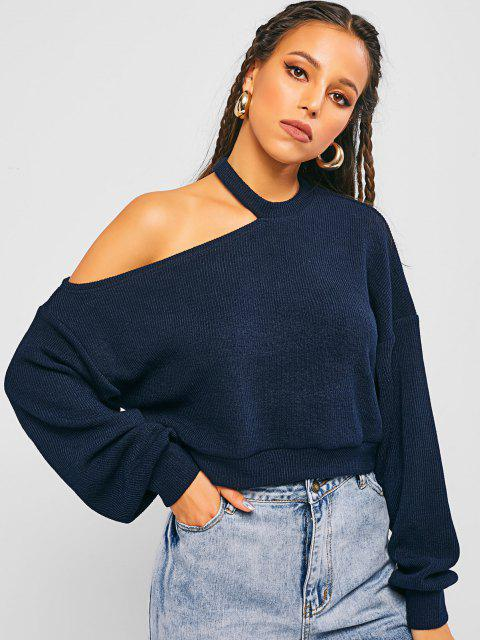 affordable ZAFUL Cold Shoulder Crop Sweater - MIDNIGHT L Mobile