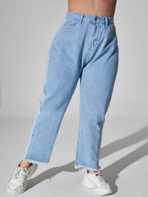 Plus Size Bicolor Raw Hem Jeans - أزرق فاتح 1XL Mobile