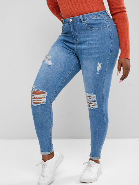 Plus Size High Stretch Cuffed Ripped Skinny Jeans - أزرق 2XL Mobile