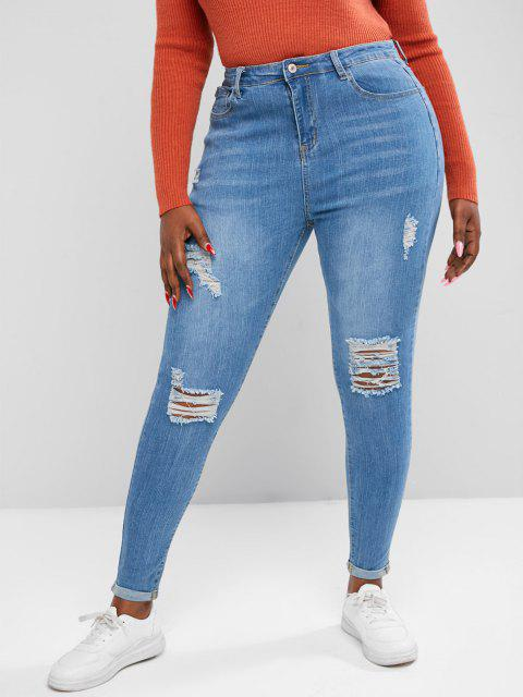 Plus Size High Stretch Cuffed Ripped Skinny Jeans - أزرق 4XL Mobile