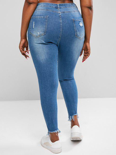 online Plus Size Ripped Raw Hem High Stretch Skinny Jeans - BLUE 3XL Mobile
