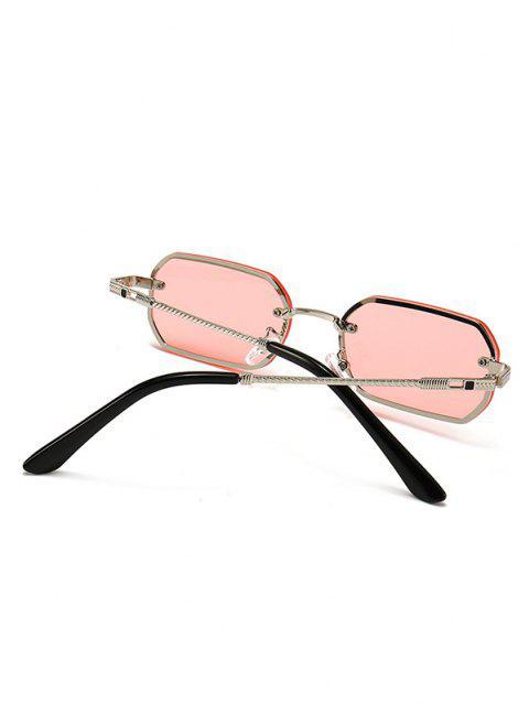 Engraved Temple Metal Irregular Sunglasses - خنزير وردي  Mobile
