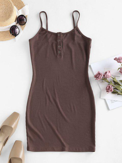 shops ZAFUL Solid Color Bodycon Cami Dress - DEEP COFFEE L Mobile