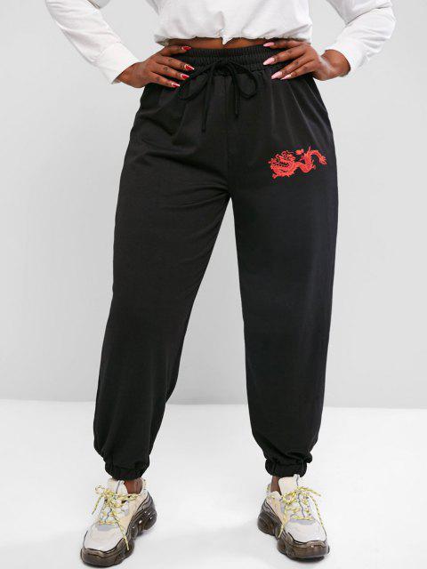 ZAFUL Plus Size Chinese Dragon Print Jogger Sweatpants - أسود L Mobile
