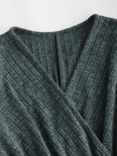 Geripptes Langarm Heathered Strickkleid - Dunkelgrün M Mobile