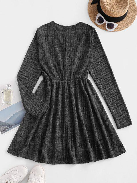 trendy Long Sleeve Ribbed Heathered Knit Dress - BLACK XL Mobile