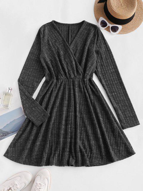 fashion Long Sleeve Ribbed Heathered Knit Dress - BLACK M Mobile