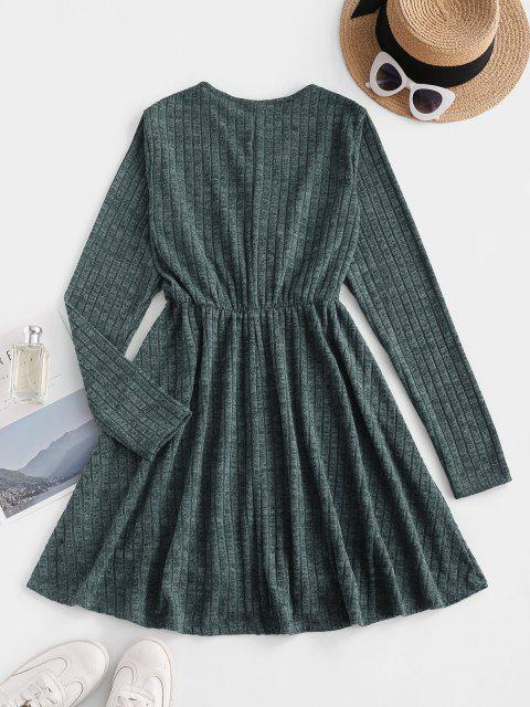 chic Long Sleeve Ribbed Heathered Knit Dress - DEEP GREEN S Mobile