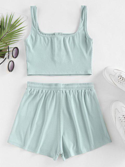 fashion ZAFUL Ribbed Henley Tank Top and Drawstring Shorts Set - LIGHT GREEN S Mobile