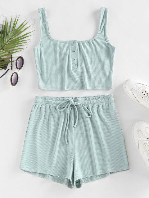 unique ZAFUL Ribbed Henley Tank Top and Drawstring Shorts Set - LIGHT GREEN L Mobile