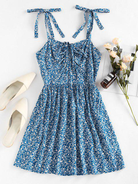 ladies Tie Strap Smocked Back Floral Print Cami Dress - BLUE S Mobile
