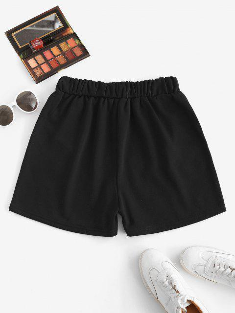 lady Flame Print Drawstring Pocket Sweat Shorts - BLACK S Mobile
