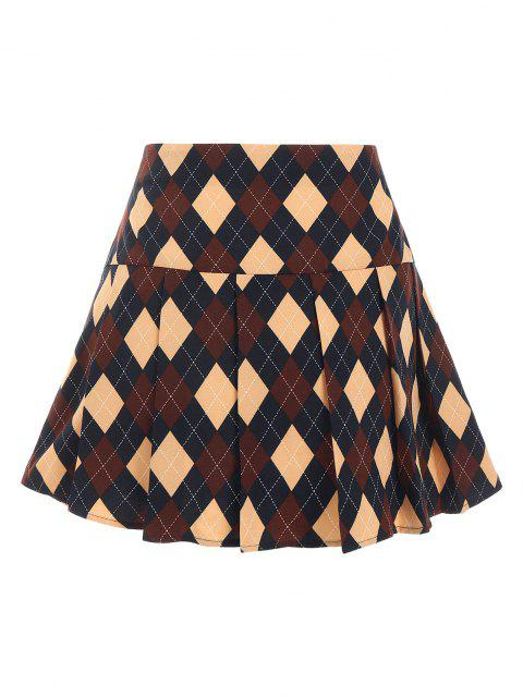 unique ZAFUL Argyle Printed Pleated Flare Skirt - DEEP BLUE L Mobile