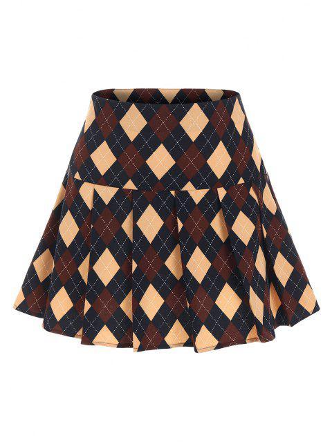 ZAFUL Argyle Printed Pleated Flare Skirt - ازرق غامق S Mobile
