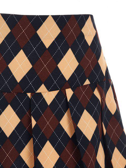 best ZAFUL Argyle Printed Pleated Flare Skirt - DEEP BLUE XL Mobile