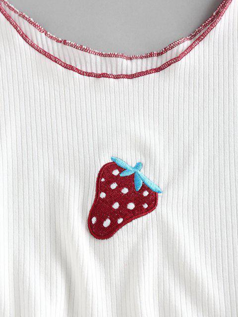 ZAFUL Débardeur Côtelé Contrasté Cousu Fraise Brodée - Blanc L Mobile
