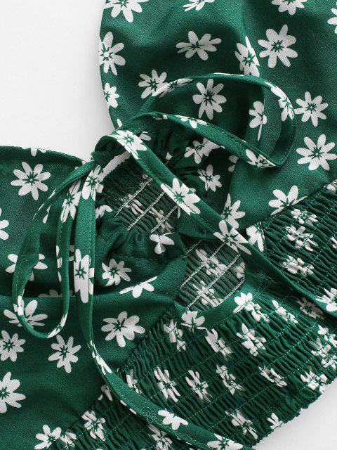 outfit Halter Ditsy Print Smocked Detail Flounce Two Piece Dress - DEEP GREEN M Mobile