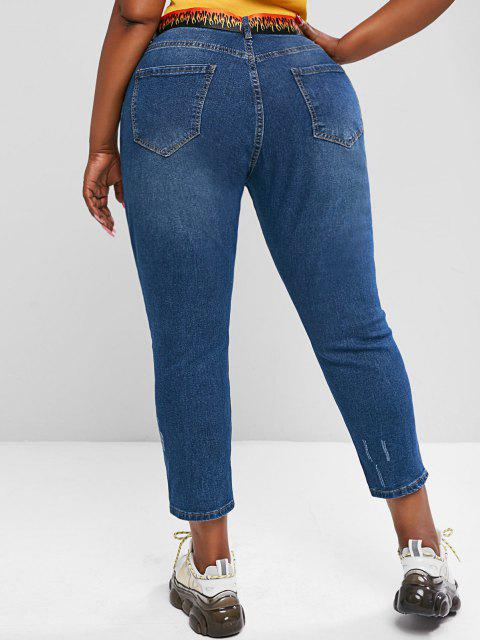 latest Plus Size Ripped Button Fly Jeans - BLUE 5XL Mobile