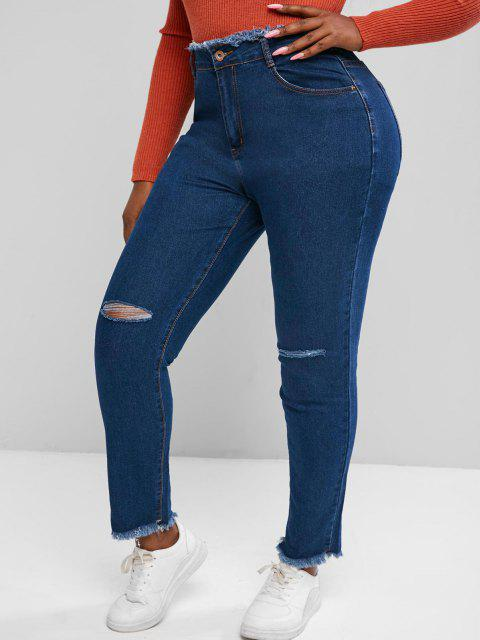 chic Plus Size Raw Trims Ripped Jeans - DEEP BLUE 3XL Mobile