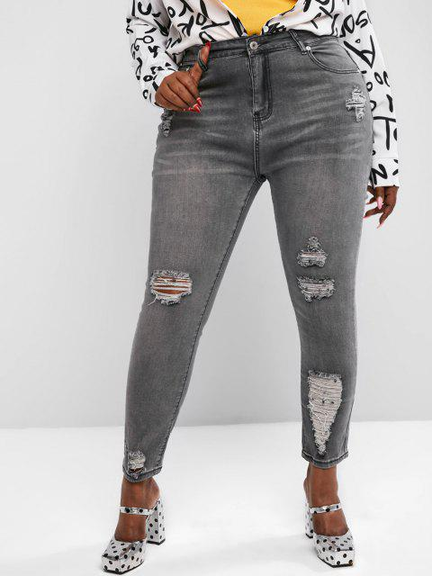 women Plus Size Ripped Skinny High Rise Jeans - GRAY L Mobile