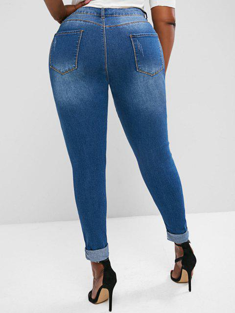 womens Plus Size Ripped Cuffed Skinny Jeans - DEEP BLUE 4XL Mobile