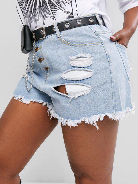 Pantaloncini in Denim Strappati Taglia Forte con Bottoni - Blu 4XL Mobile