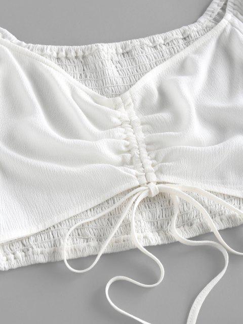 ZAFUL Conjunto de Falda con Pliegues Fruncido de Manga de Smocked - Blanco S Mobile