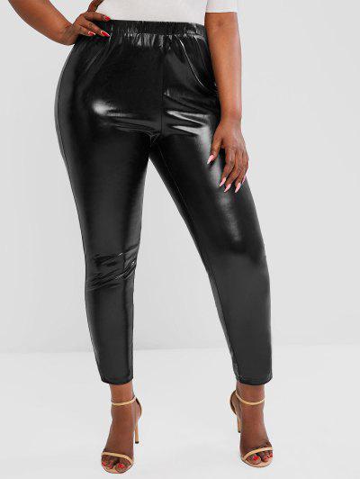 ZAFUL Plus Size Wet Look Coated Leggings - Black Xl