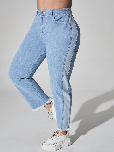 Plus Size Bicolor Raw Hem Jeans - Light Blue 3xl
