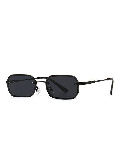 Engraved Temple Metal Irregular Sunglasses - Black