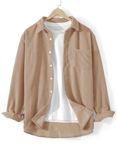 Front Pocket Solid Corduroy Shirt - Light Coffee 2xl