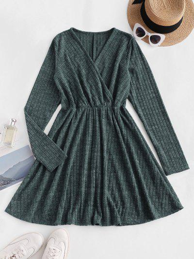 Long Sleeve Ribbed Heathered Knit Dress - Deep Green M
