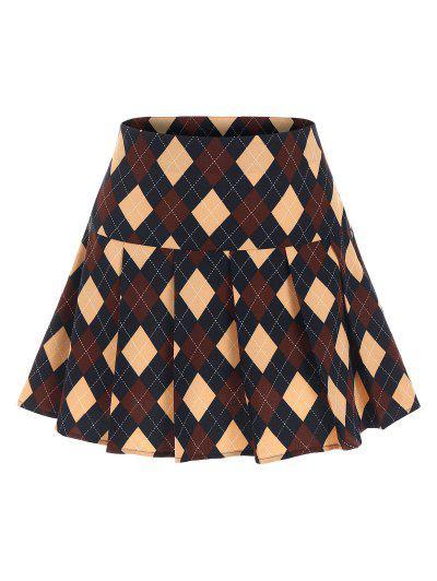 ZAFUL Argyle Printed Pleated Flare Skirt - Deep Blue L