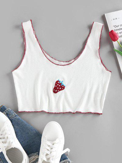 ZAFUL Ribbed Strawberry Embroidered Contrast Stitching Tank Top - White M