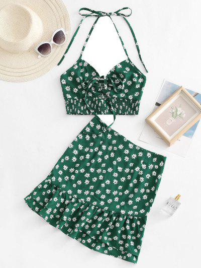 Halter Ditsy Print Smocked Detail Flounce Two Piece Dress - Deep Green M