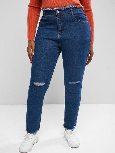 Plus Size Raw Trims Ripped Jeans - Deep Blue 3xl