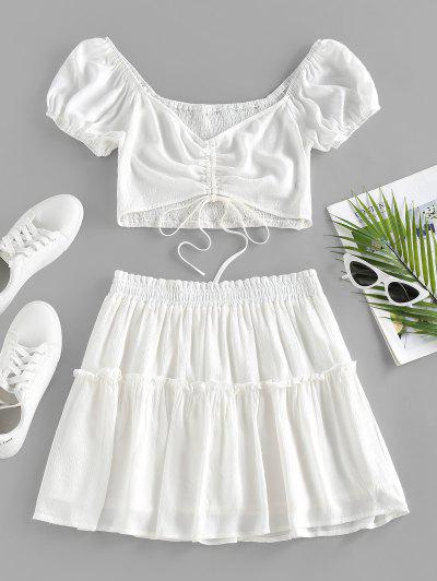 ZAFUL Cinched Smocked Puff Sleeve Tiered Skirt Set - White S