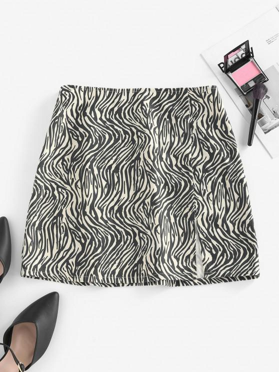 latest ZAFUL Zebra Print Slit Mini Skirt - BLACK S
