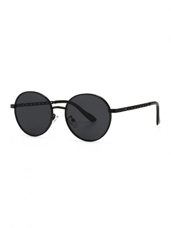 lady Hollow Out Temple Metal Round Sunglasses - BLACK