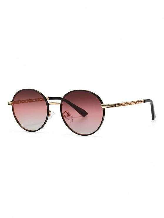 Hollow Out Temple Metal Round Sunglasses - توليب بينك