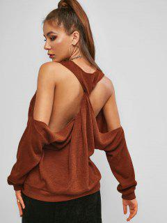 ZAFUL Twisted Cutout Cold Shoulder Oversized Sweater - Coffee S