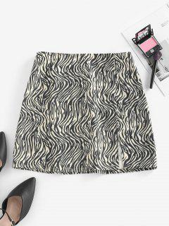 ZAFUL Zebra Print Slit Mini Skirt - Black S