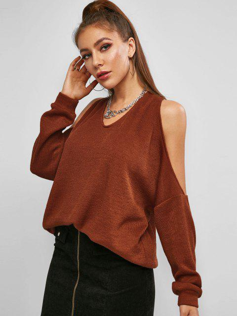 unique ZAFUL Twisted Cutout Cold Shoulder Oversized Sweater - COFFEE M Mobile