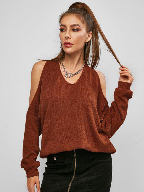 hot ZAFUL Twisted Cutout Cold Shoulder Oversized Sweater - COFFEE S Mobile