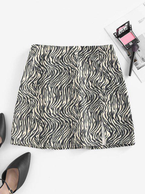 trendy ZAFUL Zebra Print Slit Mini Skirt - BLACK L Mobile