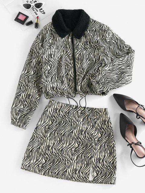 buy ZAFUL Zebra Print Slit Mini Skirt - BLACK XL Mobile
